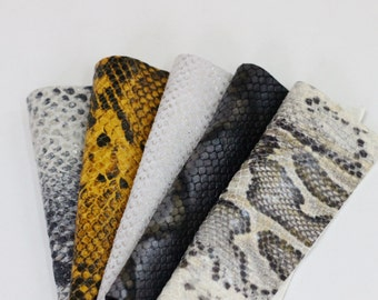 5pcs  Scrap Leather Pieces  ,Snakeskin Print Leather