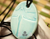 Robin Egg Blue Oval Dragonfly Essential Oil Diffuser Necklace | Lisa C. Warren | Handmade | Aromatherapy Natural Medicine