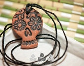 Black Terracotta Sugar Skull Day of the Dead Style 3 Essential Oil Diffuser Necklace | Lisa C. Warren | Aromatherapy Natural Medicine