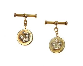 Vintage Gold Vermeil Hammered Crown Cufflinks