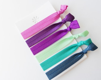 Creaseless Hair Ties!  Non damaging hair ties! Colorful elastic hair ties!  Fun, fresh and trendy!