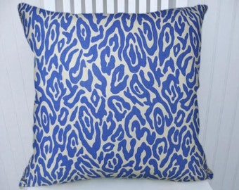 Blue and White Animal Print Pillow Cover---100% Cotton 18x18 or 20x20 or 22x22 Decorative Throw Pillow-Accent Pillow