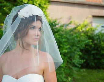 Two Tier Wedding Veil, Double Layer Tulle Bridal Veil, Ivory wedding veil, White - Blair - VE421