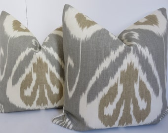 Pillow Covers,Grey Ikat Pillow Cover, Bansuri Gray Pillow, Brown Ivory Pillow, Kravet Pillow, Kravet Ikat Pillow,Bansuri Gray Ikat Pillow