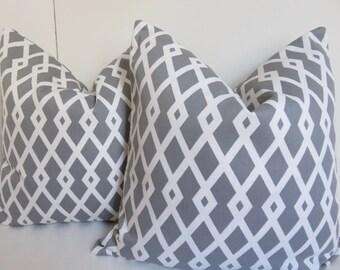 Gray Pillow Cover, 18x18 White Pillow, Geometric Pillow, Pillow Cover, Grey Pillow, Gray White Trellis Pillow, Pillow,Desingner Pillow