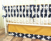 Navy, Gold, Mint, and Gray Bedding with Aztec/Cross Theme
