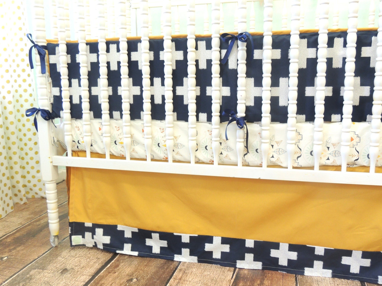 Navy Gold Mint and Gray Bedding with Aztec Cross Theme