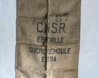 French Burlap Sack // 1950 Jute Feed Bag