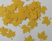 CLEARANCE 50% off - Confetti maple leaves 50 pcs - yellow sun lemon - cardstock party woodland wedding thanksgiving scrapbook crafts