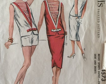 McCall's Vintage Sewing Pattern #4573 Misses' Sportswear Outfit Skirt Shorts Overblouse Top ©1958