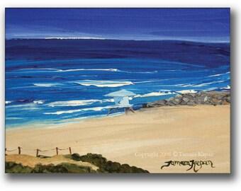 "Coastal Art Print by Tamara Kapan titled ""Carlsbad Jetty"" // Lifeguard Tower Print // Beach Decor // Made To Order"