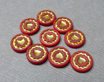 Vintage Glass Cabochons. Red and Gold Heart Cabochon. Round Cab. 9mm. Jewelry Supplies. Set of Nine (9).