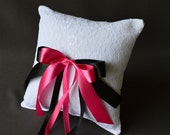 Lace wedding ring pillow with black and fuchsia satin ribbon bows