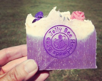 Essential oil blend of Litsea and Lavendar. Cold Process soap made with Chamomile infused Olive Oil, beeswax and honey.