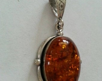 Amber and sterling silver necklace pendant charm *price reduction*