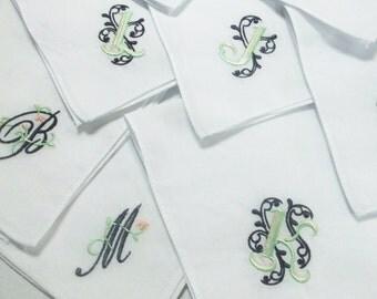 Bridesmaids Gifts, Embroidered Wedding Handkerchief, Monogrammed Hankies, Custom Embroidery, Monogram, Any Letter, SCROLL, AllVintageHankies