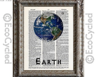 Earth Our Planet in Our Solar System on Vintage Upcycled Dictionary Art Print Book Print Recycled Astronomy Cosmos third planet