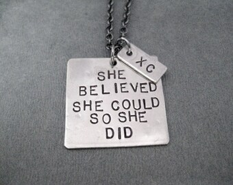 She Believed She Could So She Did with XC Necklace - Hand Hammered Nickel Silver Pendants on Gunmetal Chain - XC Cross Country Necklace - XC