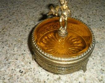 Antique Hollywood Glam Filigree Jewelry Box/Casket