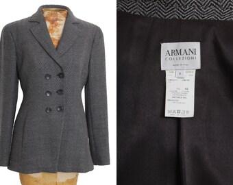 90s ARMANI COLLEZIONI Black White Chevron Tweed Blazer Jacket, size Medium 6, early 1990s italy italian designer back to school autumn trend