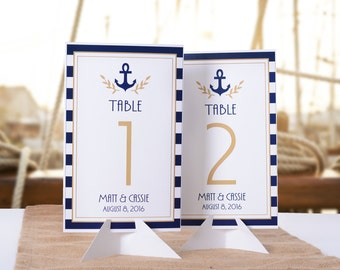 Nautical Wedding Table Number Cards - Nautical Wedding Table Markers - Vintage Nautical Wedding Decor