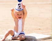 little baseball cake smash outfit, baseball tie diaper cover and birthday hat set