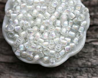 TOHO beads, size 11/0, white seed beads, Inside-Color Rainbow Crystal Creme Lined N 777, rocailles, glass beads - 10g - S584