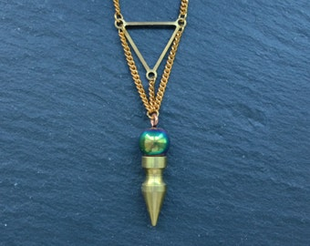 Sale - Titanium Quartz Ball Necklace - Brass