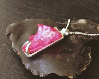 Sample - Claw Pink Aura Quartz Necklace - Sterling Silver