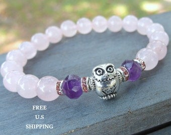 Owl bracelet, Amethyst, Rose Quartz, bird bracelet, Yoga bracelet, Energy bracelet, Mala bracelet, Reiki Charged, amethyst bracelet, quartz