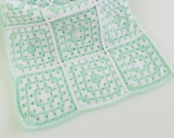 Crochet Mint Green and White Baby Blanket 36x36 Granny Square Infant Blanket