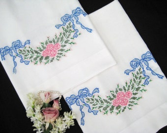 2 Vintage Pillowcases Embroidered Blue Bows, Pink Flower Embroidery, Standard Size