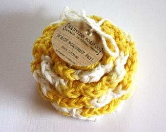 SHOP CLOSING SALE . Flower Face Scrubby Set . Set of 3 . Crochet . 100 Percent Cotton . Yellow & White