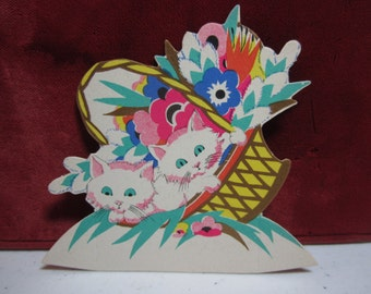 Adorable 1920's-30's unused die cut gold gilded Clark place card white fluffy cats inside tilted basket with colorful deco flowers inside