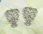 Antiqued Silver Filigree, Brass Filigree, Nouveau Filigree, Cabochon Wrap, Brass Connector, 23mm x 17mm- 4 pcs. (sl158)