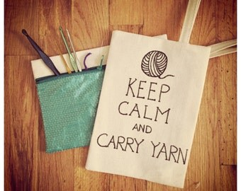 Keep Calm and Carry Yarn, Knitting and Crochet Storage Pouch