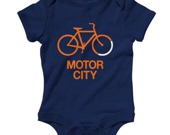 Baby Bike Motor City Romper - Infant One Piece - NB 6m 12m 18m 24m - Detroit Baby - 4 Colors