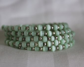 Memory Wire Cuff Bracelet Sea-Green Beads