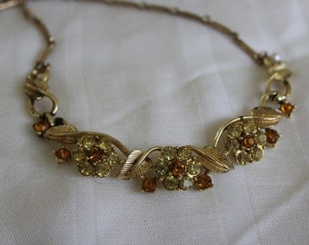 Coro Autumn Colors Rhinestone Necklace