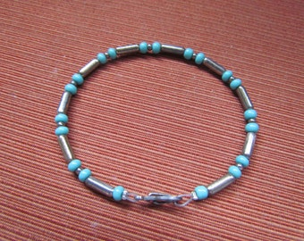 Opaque Turquoise Blue Glass with Silver Metal Bead Bracelet