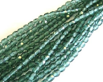 4mm Czech fire Polished 50 Beads Lt Teal  # 211