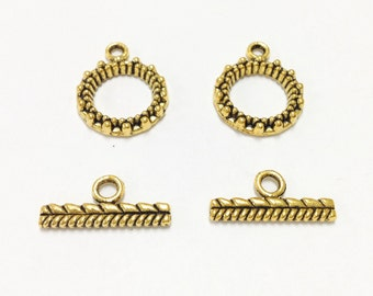 2 gold Plated Toggle Clasps