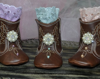 Soft Sole Baby Girl Cowgirl Boots...Pre Walkers...Baby Girl Boots...Photography Props...Lace Boots...Cowgirl Boots...Lavender Mint Peach