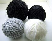 Destash Yarn balls, 4 balls, 30 yards each, set I2, destash sale knitting, crochet, craft yarn