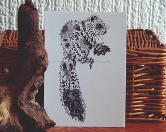 Squirrel Postcard // Squirrel art illustration // Woodland Animal Art // Botanical Illustration // Black and White Print // Nature Gift