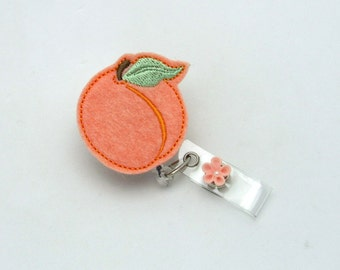 Peach Badge Reel - Georgia Peach Badge Clip - Peachy Badge Holder - Designer Badge Reels - Felt Applique Badge Clips - Cute Name Tag Pull