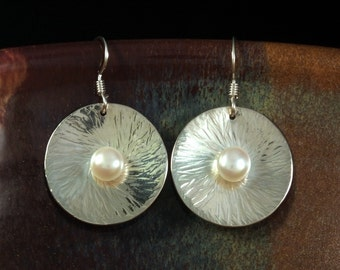 Hammered Silver and Pearl Disk Earrings