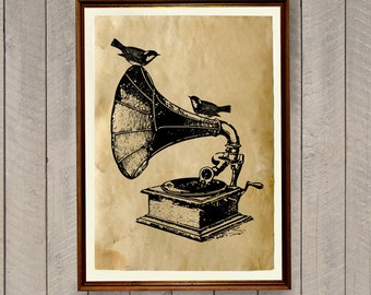 Gramophone poster Vintage home decor Antique print AK462