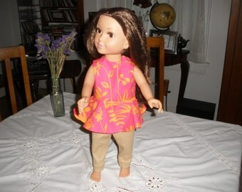 Dolls clothes, Leggings and tunic for 18 inch doll. This outfit fits all 18 inch favourite dolls. Handmade in Canada.