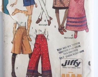 Vintage Simplicity Jiffy 9516, skirts and pants, maxi skirt pattern,  Misses size 10, 1971 boho clothing, uncut